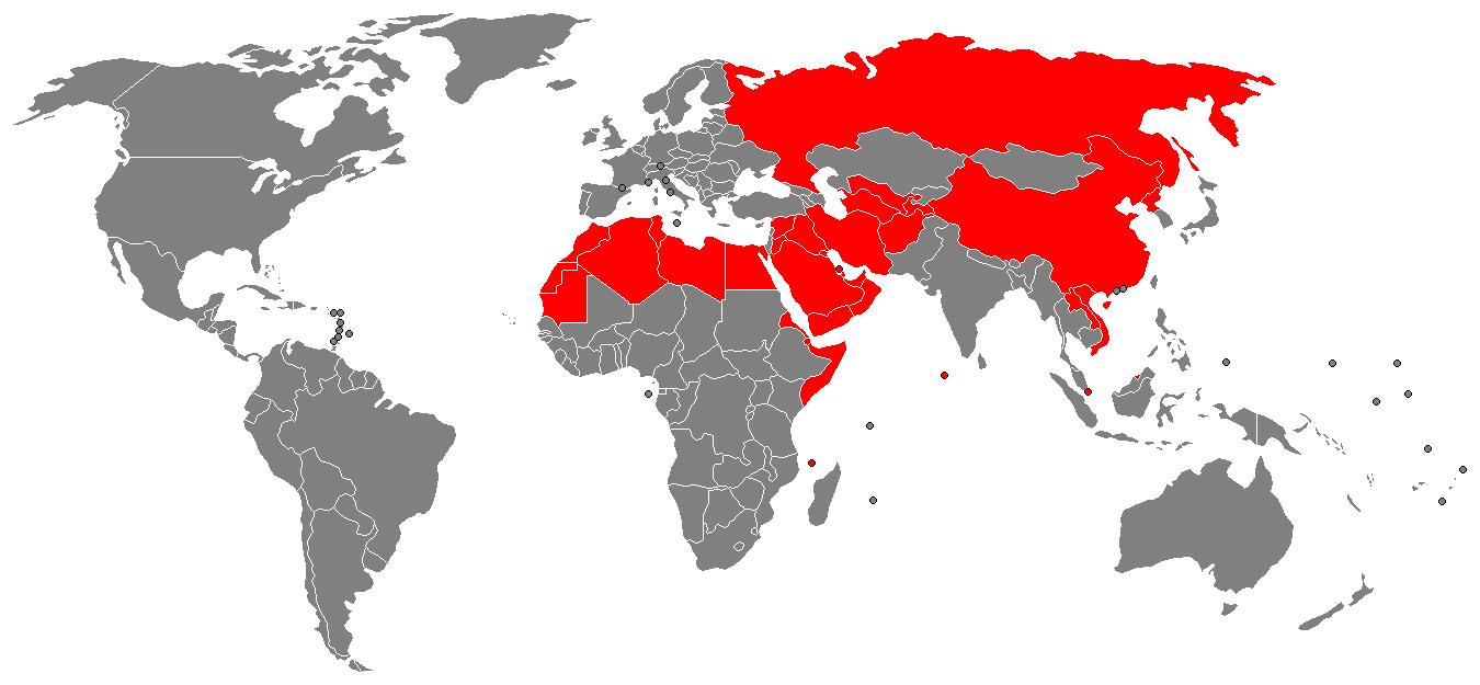 Страны, в которых Свидетели Иеговы запрещены